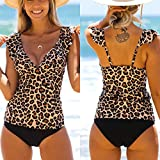 Briskorry Bañador para mujer con volantes, cuello en V, espalda descubierta, forma de barriga sexy, estampado de leopardo, de una sola pieza