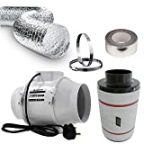 4 Inch Universal Budget Silent Fan Filter Duct Kit for Grow Tent Quiet Operation Inline Extractor Fan Air Diffuser Hydroponic 100mm Carbon Filter Flexible Ducting Smell Odor Temperature Heat Control