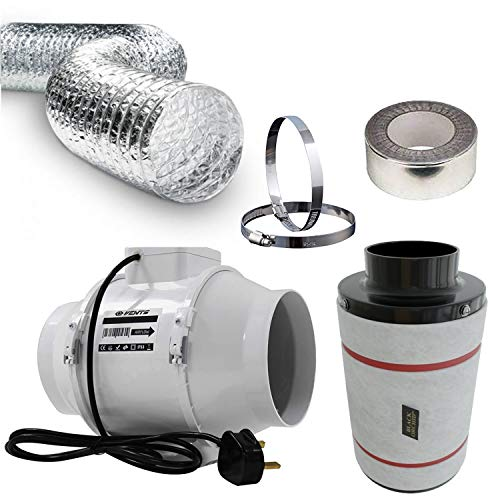 4 Inch Universal Budget Silent Fan Filter Duct Kit for Grow Tent Quite Operation Inline Extractor Fan Air Diffuser Hydroponics 100mm Carbon Filter Flexible Ducting Smell Odor Temperature Heat Control