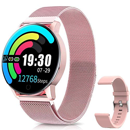 Smartwatch Impermeable IP67 Reloj Inteligente Elegante Monitores de Actividad con Presión Arterial, Pulsómetro, Monitor de Sueño, Notificaciones Inteligentes para iOS Android Mujer Hombre