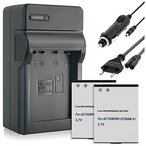 2 Akkus + Ladegerät (KFZ, Netz) für ISAW 083443A / A1, A2 Ace, A3, Advance, Extreme/Actionpro X7