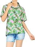 HAPPY BAY Camisa más tamaño botón hacia Arriba Las Hojas de Alta definición en 3D de Las Mujeres Blusa Playa Hawaiana Impresa Rosa_AA297 M - ES Tamaño :- 44-46