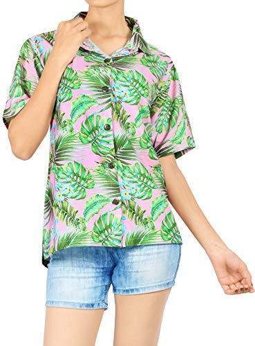 HAPPY BAY Strand Bluse Hemd der Frauen Plus Größe zuknöpfen High-Definition-3D-Blätter gedruckt Aloha Rosa_AA297 M - DE Größe :- 44-46