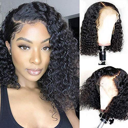 Aushow Deep Wave Lace Front Wigs Human Hair Pre Plucked with Baby Hair Brazilian Short Bob Wigs for Black Women Natural Color (14 Inch)