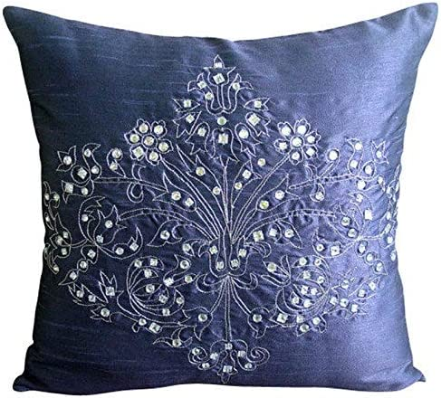 The HomeCentric Luxury Blue Throw Cover Crystals Pillows sold out At the price of surprise Damask