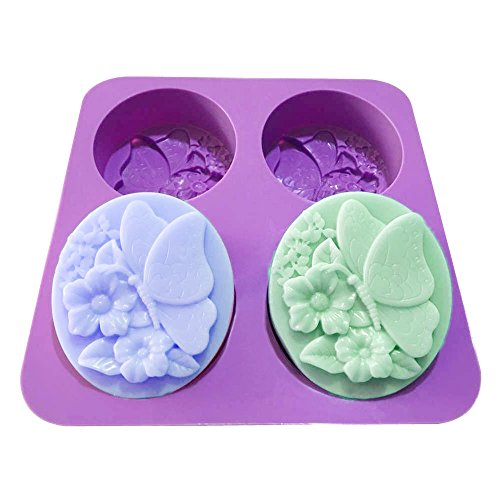 X-haibei Fleur Papillon ovale Moule en silicone Savon de bain froid Processus faisant de fournitures