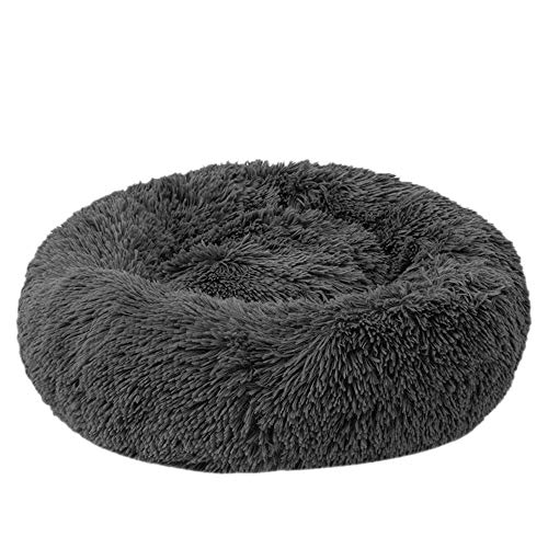 Festnight Haustierbett, Katzenbett Plüsch Haustierbett, Rundes Plüsch-Katzenbett-Hundehaus-Welpen-Kissen-tragbare warme weiche Bequeme Hundehütte 40/50/60/70/80/100CM (XXXL, Dark Gray)