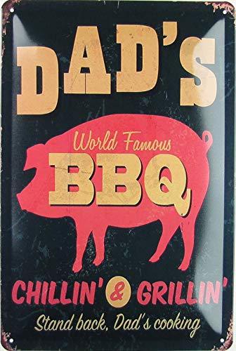Blechschild 20x30cm gewölbt Dad´s BBQ Chillin & Grillin Grill Vintage Deko Geschenk Schild
