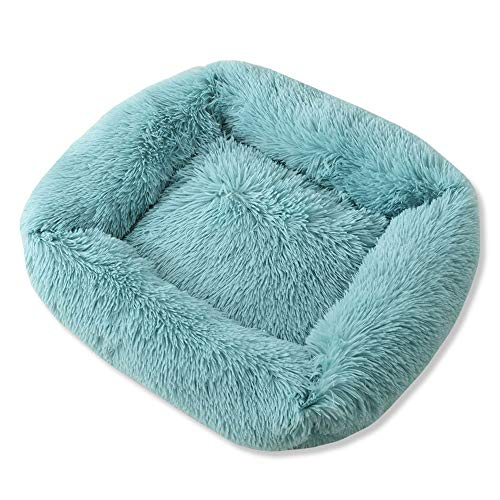 YMYGCC Pet Bed Round Plush Cat Dogs Bed House Soft Long Plush Cat Bed Round Pet Dogs Bed For Small Cats Nest Winter Warm Sleeping Bed Puppy Mat 54 (Color : Blue, Size : 55x45x20cm)