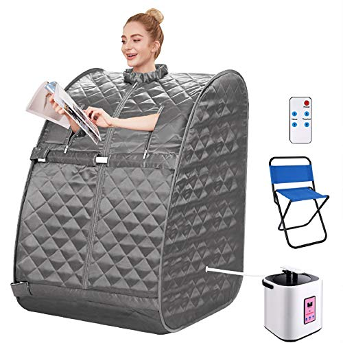 OppsDecor Portable Steam Sauna, 2L Personal Therapeutic Sauna Spa for Weight Loss Detox Relaxation Slimming,One Person Sauna with Remote Control,Foldable Chair,Timer (29.5 x 35 x 40.3inch, Brown)