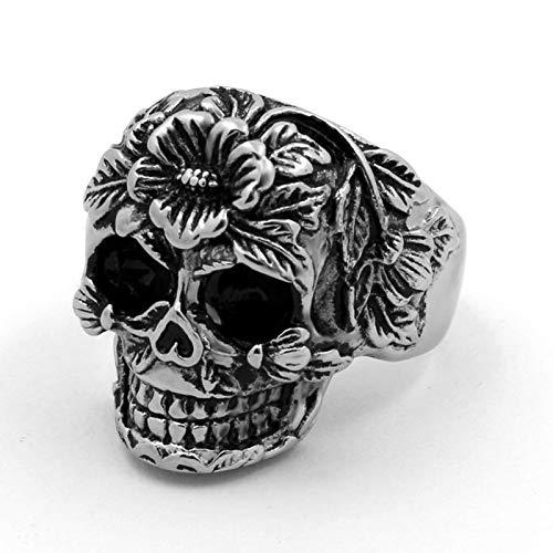 Anillos, Punk Rock México Flores de Acero Inoxidable Ring Skull Mandala Flower Santa Muerte Biker Joyería Regalo,9