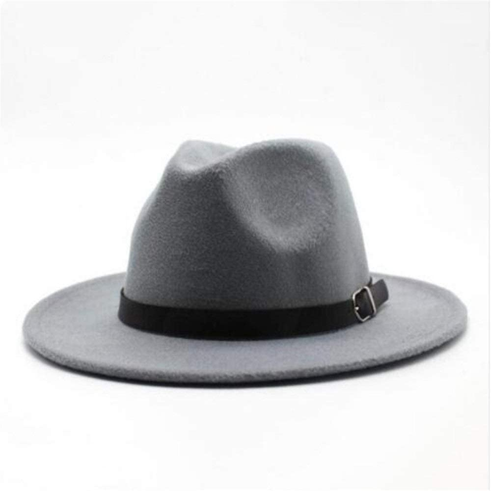 L.W.SUSL Women Men Wool Fedora Hat with Leather Belt Party ChurchHat for Lady Fascinator Hat
