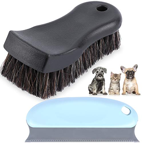 eFuncar Car Horsehair Detailing Brush Set - Upholstery Cleaner Scrub Brush Horse Hair Leather Cleaning Brush with Pet Dog Cat Hair Remover for Auto Interior, Boat, Carpet, Clothing, Couch, Seat, Sofa