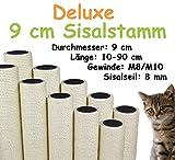 Kratzbaumland 9 cm Deluxe-Sisalstamm mit 8 mm Sisalseil (Länge: 10-90 cm; Gewinde: M8-M10) Stammlänge - 49 cm, Gewinde - 10 mm -M10-