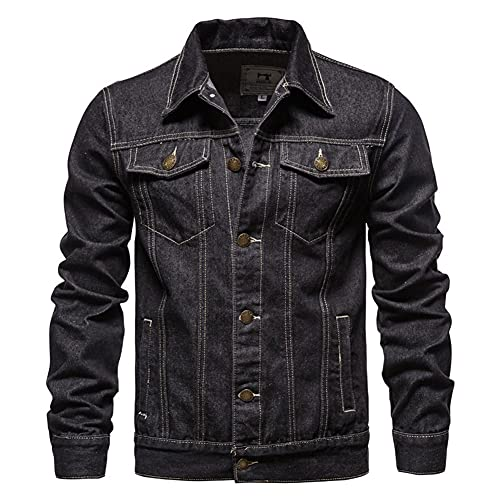 CZVEVOY Men's Classic Denim Jacket Slim Fit Lapel Hip Hop Jean Jacket Trucker Coat Streetwear,Black,XXL
