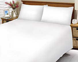 Hotel Linen White Plain King Size 260 x 280 cm Bedding Set - 3 Pieces