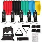 REEHUT Resistance Bands Expander Set mit Tasche - 5 Widerstandsbänder + 2 Griffe + 2 Fußschlaufen...