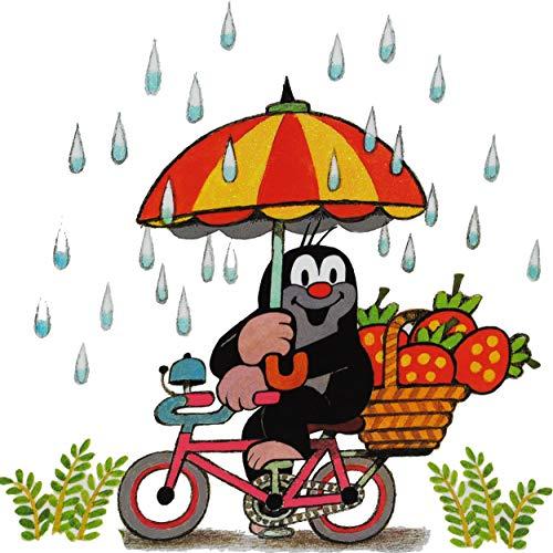 alles-meine.de GmbH Fensterbild / Fenstersticker - der kleine Maulwurf - Pauli - mit Fahrrad & Regenschirm - selbstklebend & wiederverwendbar ! - statisch haftend - Fenster Stick..