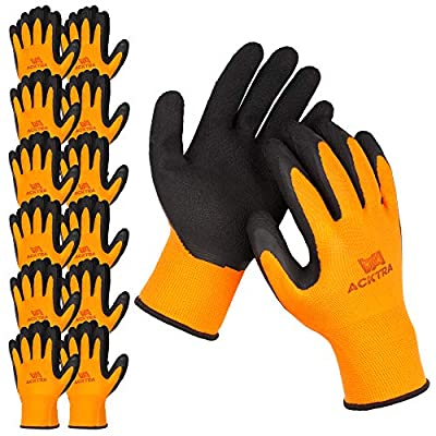 ACKTRA Premium Coated Nylon Safety WORK GLOVES 12 Pairs, Knit Wrist Cuff, for Gardening and General Purpose, for Men & Women, WG009 Orange Polyester, Black Latex, X-Large
