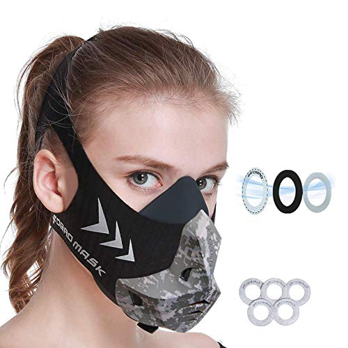 FDBRO Sports Mask 12 Breathing Levels Pro Workout Mask for Training Fitness,Running,Resistance,Cardio,Endurance Mask for Fitness Training Sport Mask (Black Camouflage, L)
