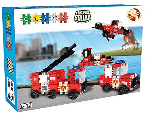 Clics Konstruktionsspielzeug für Kinder von 6 bis 12 Jahren, kreatives Lernspielzeug, Bausteine für Mädchen und Jungen, Montessori STEM-Spielzeug, Hero Squad Feuerwehr Box 8 in 1