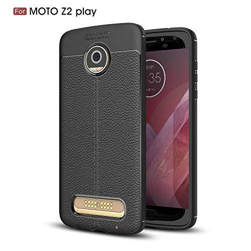 Ycloud Silikon TPU Schutzhülle für Motorola Moto Z2 Play Weich Ultra Dünn Hülle Stoßfest Anti-rutsch Back Cover Litschi Textur Schwarz Tasche für Motorola Moto Z2 Play