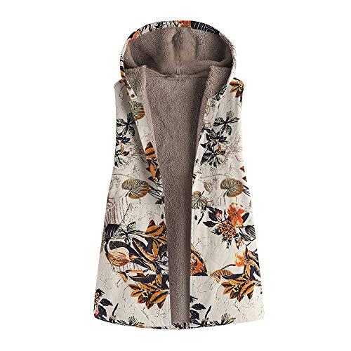 iHENGH Damen Herbst Winter Bequem Lässig Mode Frauen Winter Warm Outwear Blumendruck Mit Kapuze Taschen Vintage Übergröße Mantel Weste(Orange, 5XL)