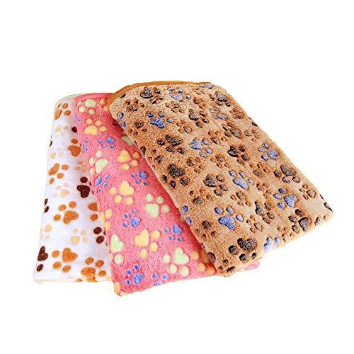 WDEC 3 Piezas Mantas de Perro de Lana de Coral Lavables Suaves Mantas de Cama de Gato de Mascota Medio, Manta para Perros Duradera y Esponjosa, Alfombra Manta para Mascotas, 76X104cm