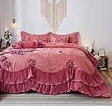 Tache Elegant Satin Lace Cascading Ruffles Floral Embellished Victorian Rose Pink 6 Piece Bedding Set Royal Princess Dreams Comforter, Queen
