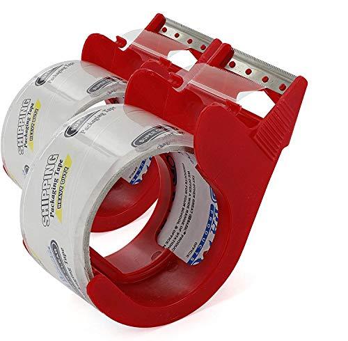 (エムロー) Emraw 1.88インチ x 27.3ヤード 高耐久 梱包テープ ディスペンサー付き 透明 梱包 多目的テープ 箱の引っ越しや発送、オフィス、収納、汎用性 (2個パック)