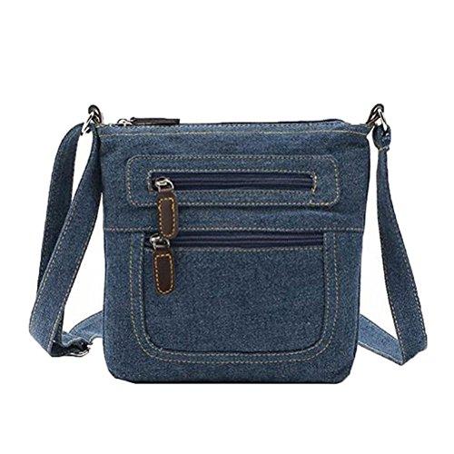 Donalworald - Borsa a tracolla da donna, stile corto, in denim, borsa a tracolla, Blu (Blu), Medium
