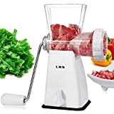 Meat Grinder Manual, Hand Crank Meat Mincer Heavy Duty Sausage Stuffer with Stainless Steel Blades and Powerful Suction Base, 3 in 1 Food Grinder for Home kitchen Grind Meat Sausage Cookies Vegetables