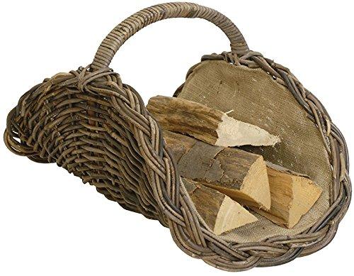 korb.outlet Holzkorb Woody aus Kubu-Rattan Naturrohr (Kubu Grau), Kaminkorb/Kaminholzkorb Natur mit Jute ausgeschlagen