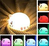 Luz la Noche del LED, luz bebe Lámpara Infantil Quitamiedos Infantil [Lindo Gato][Lámpara Silicona] USB Recargable - 7 Colores Led Estático/respiración/intermitente - Mejor regalo(Lindo)
