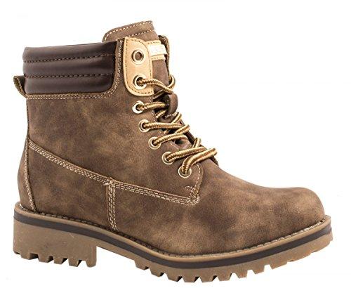 Elara Damen Stiefeletten Worker Boots Chunkyrayan 412H-Fell-Khaki-38