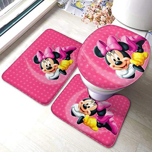 Odelia Palmer Hermoso Juego de 3 Piezas de Alfombrilla de baño Minnie Mikcey Mouse, Juego de alfombras de baño, baño y Juegos de Almohadillas absorbentes y de baño