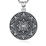 Collar Mandala de plata esterlina, collar colgante de la flor de la vida, regalo para mujer, colgante 3D Mandala negro floreciente, cadena de 18', joyería vintage con collar vikingo