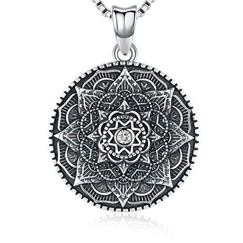 """Sterling Silber Mandala Halskette, Blume des Lebens Halskette für Teen Girls Geschenk für Frauen, Blooming Black Mandala Anhänger Kette 18\"""", Vintage Wikinger Halskette Schmuck mit feiner Geschenkbox"""