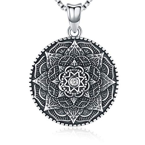 Friggem Sterling Silver Mandala Necklace,Flower of Life Pendant Necklace for Teen Girls Gift for Women,3D Blooming Black Mandala Pendant Chain 18',Vintage Viking Necklace Jewelry with Fine Gift Box