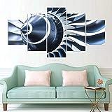 5 Panel Pintura sobre lienzo Arte de la pared Fondos de pantalla modulares Impresión de póster Decoración para el hogar Carteles De Imágenes De Motores De Avión DecoracióN NavideñA Cuadro/150x80cm
