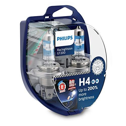 Philips RacingVision GT200 H4 bombilla faros delanteros +200%, paquete doble