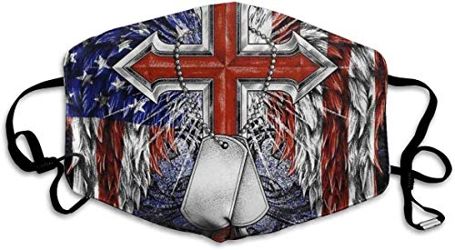 Mouth Shield Eagle Wi-Ngs Usa American Flag Cro-Ss Necklace Non Medical B36 Mouth Scarf Outdoor Unisex Gift Anime Birthday Motorcycle Windproof Face Protection Windproof Camping A