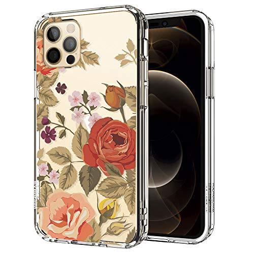 MOSNOVO Cover iPhone 12, Cover iPhone 12 PRO, Rose Vintage Fiori Floral Flower Trasparente con Disegni TPU Bumper con Protettiva Custodia Posteriore per iPhone 12 PRO iPhone 12 6.1 Pollici