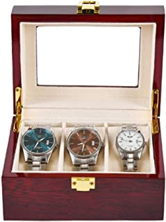 Lwieui Caja de Reloj Relojes de joyería 3 Ranuras de Madera con Cerradura Display Caja de Almacenamiento con el Vidrio Caj...