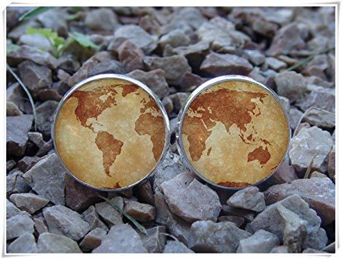 Little Love Glowing Cufflinks - Gemelli a forma di mappa antica della terra, che si illuminano al buio, motivo: pianeta, gemelli luminosi, gemelli Globus, idea regalo per marito