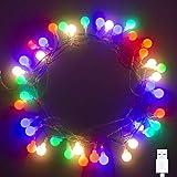 40 LED 16ft Cadena Luces USB, IP65 Impermeable, Fulighture Decorativas Guirnaldas Luminosas para Exterior,Interior, Jardines, Casas, Boda, Fiesta de Navidad Decoración(Multicolor)