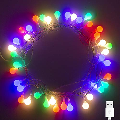 40 LED 16ft Cadena Luces USB, IP65 Impermeable, Fulighture Decorativas Guirnaldas Luminosas para Exterior,Interior, Jardines, Casas, Boda, Fiesta de Navidad Decoración(Multicolor)