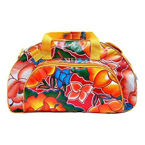 IKURI Saunatasche - Wasserdicht Sporttasche Für Damen Schwimmtasche Reisetasche Umhängetasche Weekender Für Fitness and SPA aus Wachstuch - Design Tehuana Blumen Retro in Rot
