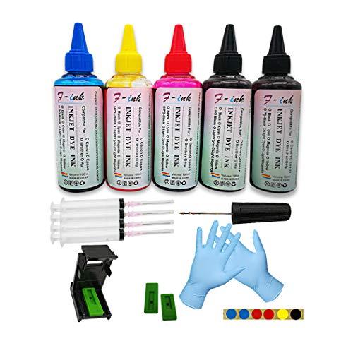 F-ink Bouteilles 5x100ml Kits de Recharge d'encre et d'encre compatibles avec Les Cartouches d'encre Canon 545 546/512 513/545XL 546XL/ PG-545XL CL-546XL - Utiliser de Vieilles Cartouches d'encre