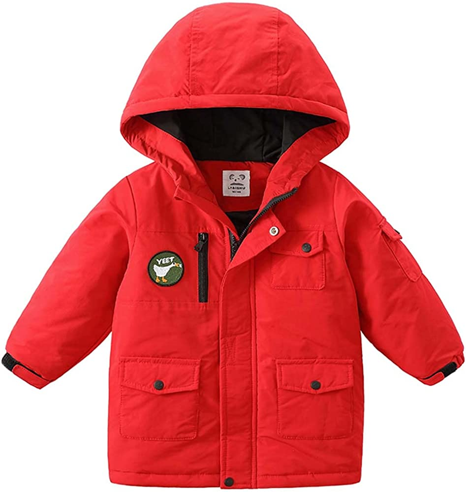Boys Winter Coat Hooded Parka Jacket Zipper Thicken Quilted Waterproof Outerwear with Pockets